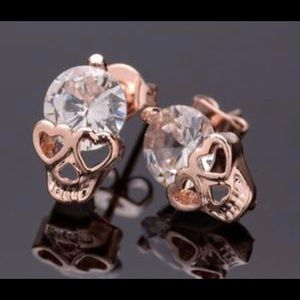 Accessories - New!!! Rose Gold skull earings